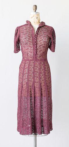 Sangiovese Lace Dress c.1930s | vintage 1930s dress | 30s lace dress