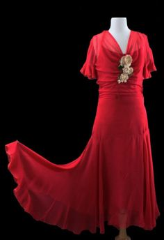 Vintage 1930S Red Silk Chiffon Flapper Gown Dress Rose Corsage Couture
