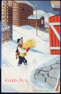AUKRUST. Mittet Serie N 2736 (1942). Gutt bærer julenek. God Jul. Sign. Aukrust -42 Christmas Postcards, Christmas Cards, Mittens, Norway, Kids Rugs, Sign, God, Winter, Vintage