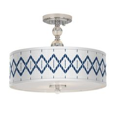 A versatile ceiling light design fitted with a custom printed Paved Desert giclee shade. 12 high x wide. Canopy is wide. Style # at Lamps Plus. Drum Ceiling Lights, Semi Flush Ceiling Lights, Ceiling Light Design, Lighting Design, Overhead Lighting, Crystal Ball, Chrome Finish, Canopy, Diffuser