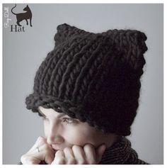 cde4d35678711 gorro hecho a mano lana natural gruesa negro