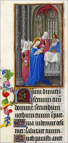 "The beginning of Nunc Dimittis (""Lord, now you let your servant go in peace"") from a 1412 Book of Hours (Les Très Riches Heures du duc de Berry), a sort of prayer book."