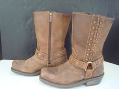 Womens Harley Davidson Auburn Harness Boots 85432 Motorcycle Brown Leather S 9 #HarleyDavidson #Motorcycle