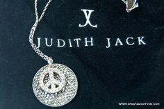 Shea Fashion Finds - Judith Jack Peace Sign Necklace, Sterling Silver, Crystals