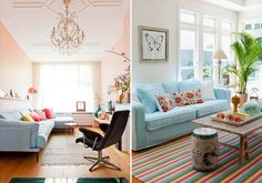 Ambientes decorados com candy colors decoraçao como decorar dicas de decorar como decorar Candy Colors, Couch, Paradise, Furniture, Home Decor, Colorful Furniture, Teen Bedroom, Painted Bottles, Kitchen Living