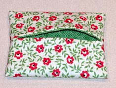 Travel Size Tissue holder.  Use two pieces of fabric 6 1/2 by 9 inches.  Super cute and easy