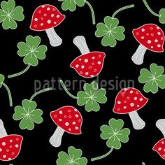 Lucky Charms In Black by Katrin Kristjansdottir available as a vector file on patterndesigns.com Vector Pattern, Pattern Design, Lucky Charm, Repeating Patterns, Design Show, Vector File, New Years Eve, Surface Design, Charms
