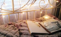 Fairy lights and a cozy bed Lights Tumblr, Do It Yourself Home, Fairy Lights, My Room, Dorm Room, Decoration, Bed Frame, My Dream Home, Christmas Lights