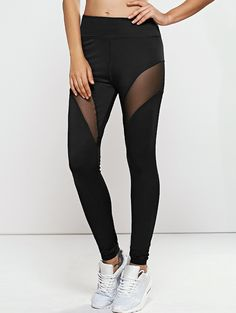Pants&Leggings | Black Active Quick -Dry Mesh Spliced Yoga Leggings Pants - Gamiss