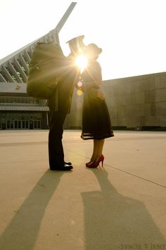 Lovely picture of a Marine and his lady in front of the Marine Corps Museum in Quantico, VA. Usmc Love, Marine Love, Military Love, Military Photos, Military Marriage, Military Relationships, Military Couples, Military Weddings, Military Couple Photography