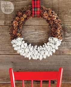 Dipped-pinecone wreath