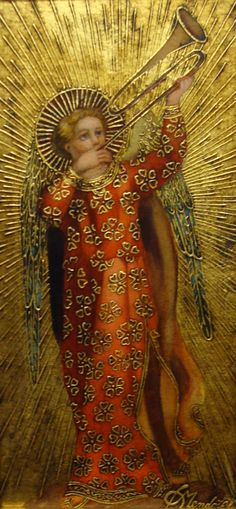 Celebrating the Birth of Messiah- Trumpeting Angel, Diana Mendoza century), Sorelle Gallery Angels Among Us, Angels And Demons, Religious Icons, Religious Art, Religious Pictures, Madona, I Believe In Angels, Angels In Heaven, Catholic Art