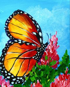 Monarch Butterfly: one hour acrylic  painting lesson advanced (Ginger Cook Live) #gingercook  #art