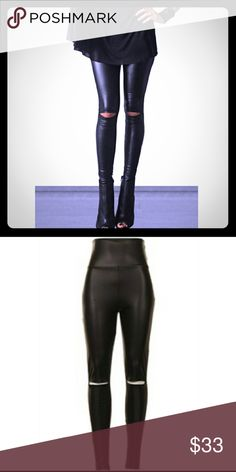 Leggings Black faux leather leggings. Cut out knee. 92% Polyester 8% Spandex.                                             ____________________________________  [Trindy Clozet Boutique Policies]  ✅ Next Business Day Shipping (possibly same day) ✅ Retail prices are firm unless bundled.  ✅ No trades.  Find more styles on our website@  Spreesy.com/trindyclozet  Insta trindy_clozet FB TrindyClozet Twitter trindyclozet Pants Leggings