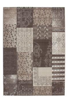 Tapis patchwork pour salon taupe à velours brillant - www.tapis-deco.fr