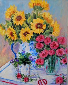 I am so happy that you stopped by. My garden gate is always open for to come in and sit and relax with a cup of hot tea while . Sunflowers And Roses, Fall Flowers, Blue And White Vase, White Vases, Beautiful Paintings, Beautiful Landscapes, Flea Market Decorating, Pansies, Painting Inspiration