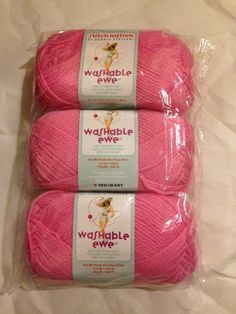 NEW! 3 Skeins Of Red Heart Washable Ewe In Icing Pink! $15.50 SHIPPED! #RedHeart #Plain