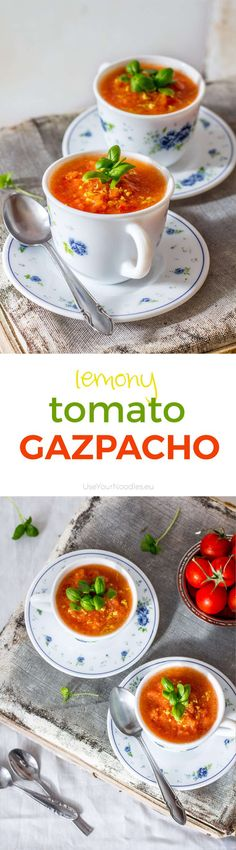 This easy lemony tomato gazpacho recipe will save the hot days, when you don't feel like cooking. It takes only 5 minutes to make.