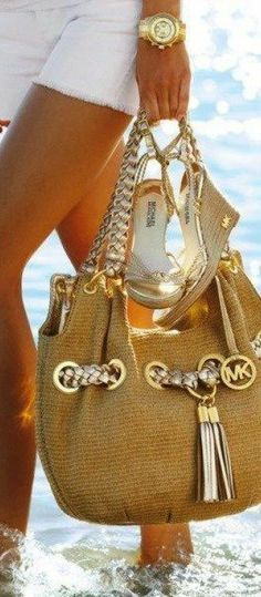 This Michael Kors tote bag is perfect for the beach