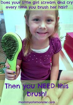 "Does your little girl scream and cry every time you try to brush her hair? Do mornings become nightmares when you say ""let's brush your hair?"" Then you NEED this detangle brush!"