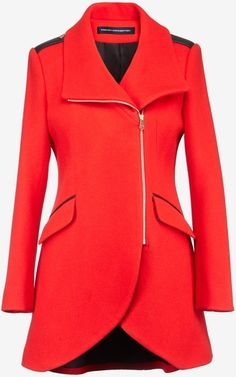 French Connection Tulip Coat with Leather Trim Jacket - Lyst