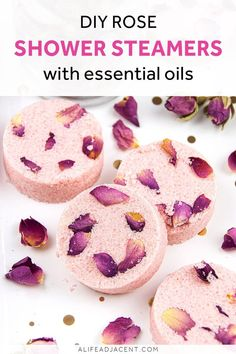 Rose Shower Steamers. These relaxing DIY shower steamers with essential oils are a must-have for calming and uplifting your mood. Floral essential oils lend these homemade shower melts a calming floral aroma, perfect for relaxation and stress relief in the shower. Wind down and calm nerves with the relaxing scents of rose, ylang ylang, and vetiver. #showersteamers #showermelts #alifeadjacent #essentialoils