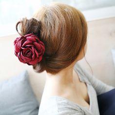 ファッション韓国高品質女の子エレガンスヘアクリップ大きな布の花プラスチック髪爪女性ヘアアクセサリー