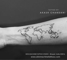 World Map tattoo.. by Akash Chandani @the_inkmann Thanks for looking :) Email for appointments- skinmachineteam@gmail.com Skin Machine Tattoo Studio Contact link in bio. www.skinmachinetattooz.com #followme #lovemyjob #besttattoos #inked #tattoos #worldmaptattoo #art #maptattoo #traveller #wanderlust #lovetraveling #explore #exploretheworld