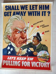 Orig GMC WWII Poster Tojo Punches Uncle Sam Shall We Let Him Get Away with It