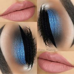 Shimmering blue eye shadow & nude lips!