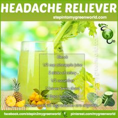 """☛ A purely hydrating """"HEADACHE RELIEVER DRINK"""" for YOU!  FOR ALL THE DETAILS:  http://www.stepintomygreenworld.com/helathyliving/headache-reliever-drink-2/  ✒ Share 