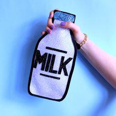 Glitter Milk Bottle Clutch Handbag LIMITED by LunaontheMoon