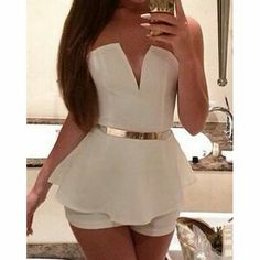 2017 Summer New Sexy Women V Neck Chiffon White Rompers See Through Jumpsuit Sleeveless Playsuit Party Clubwear Rompers Women, Jumpsuits For Women, Women's Rompers, Strapless Jumpsuit, Bodycon Jumpsuit, Jumpsuit Shorts, Short Jumpsuit, Leotard Tops, Vestidos Sexy