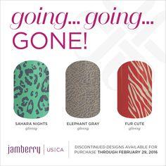 Sahara Nights Glossy, Elephant Gray Glossy, Fur Cute Glossy, are retiting on February 29th at 11:59pm MT Jamminmartha.jamberry.com