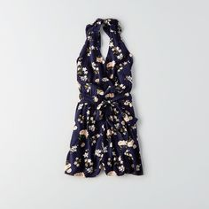 AE Printed Halter Romper ($30) ❤ liked on Polyvore featuring jumpsuits, rompers, blue, halter romper, american eagle outfitters, blue romper, open back halter top and tie-dye rompers