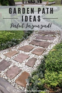 These garden path ideas are awesome! I found some great inspiration for the new gravel walkway with stepping stones I want to install in my front yard. But there's also great ideas for brick, wooden, mulch, grass, stone and flagstone paths and walkways that will fit in any garden design. #fromhousetohome #gardenpaths #pathsandwalkways #walkways #diyprojects #gardendesign Stone Garden Paths, Brick Garden, Gravel Garden, Garden Arbor, Garden Stones, Garden Landscaping, Landscaping Ideas, Backyard Walkway, Gravel Walkway
