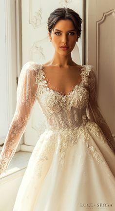 Luce Sposa Wedding Dresses 2021 Long Wedding Dresses, Bridal Dresses, Wedding Dress With Gold, Vintage Lace Wedding Dresses, Couture Wedding Dresses, Ball Gown Wedding, Wedding Reception Dresses, Wedding Dress Sparkle, A Line Wedding Dress With Sleeves