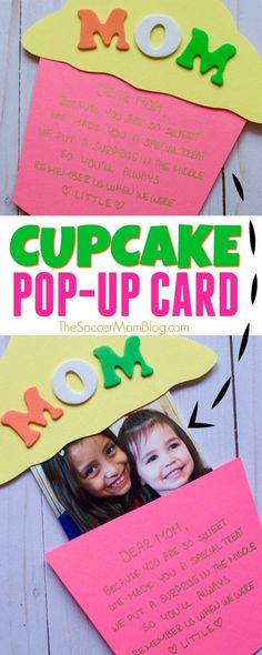 This Pop-Up Cupcake Mother's Day Card is an adorable kid-made keepsake gift with a photo surprise inside! Easy to make with simple craft supplies. Free printable pattern!