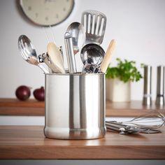 Amazon.com - VonShef - Stainless Steel Large Capacity 7 Inch Utensil Holder Pot Jar Kitchen Tidy -