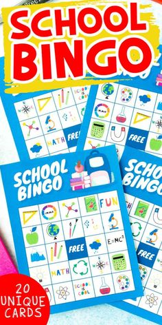 Free printable school bingo cards are perfect for back to school fun, the first day of school, classroom parties and more!