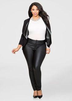 b688338dcf309 Coated Millennium Skinny Pant-Plus Size Pants-Ashley Stewart