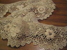 Antique Irish Crocheted Cotton Lace Trim  31 inches by StarPower99, $4.95