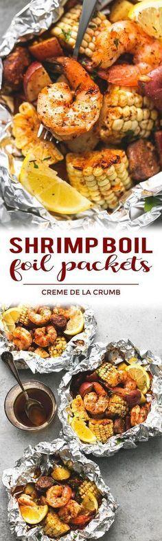 Easy, tasty shrimp boil foil packs baked or grilled with summer veggies, homemade seasoning, fresh lemon, and brown butter sauce.   lecremedelacrumb.com