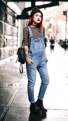 Beanie with chokers, striped tee, denim overalls & black shoes by luanna