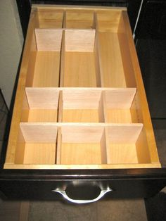 Build your own drawer organizer using balsa wood and an X-acto knife! Store-bought ones never fit my drawers or have the right sized spaces for my junk!