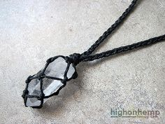 A healing crystal you can bring with you everywhere.  This healing crystal hemp necklace was made with black hemp cord in a braided style with a clear