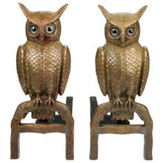 Fabulous Pair of  Bronze Owl Andirons