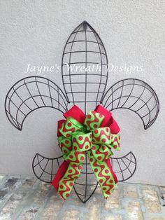 Large Iron Fleur de Lis with Christmas Bow