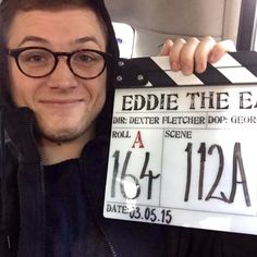 """Taron Egerton wrapping up the movie """"Eddie The Eagle"""" on May 3rd 2015"""