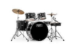 MAPEX RB5294FTCDK Rebel 5-Piece Drum Set with Hardware and Cymbals Black with 22-Inch Bass Drum     by Cascio Interstate Music   jsmartmusic.com